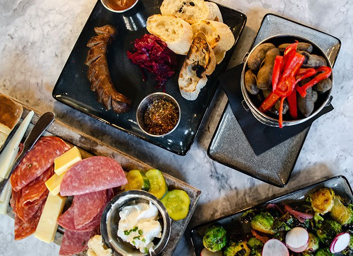 Whiskey Kitchen Raleigh NC Food Flat Lay