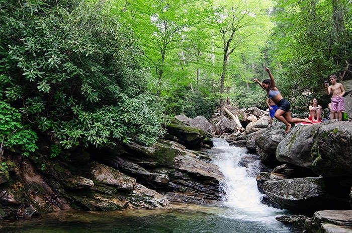Skinny Dip Falls is a set of waterfalls near Asheville, with a swimming hole too!