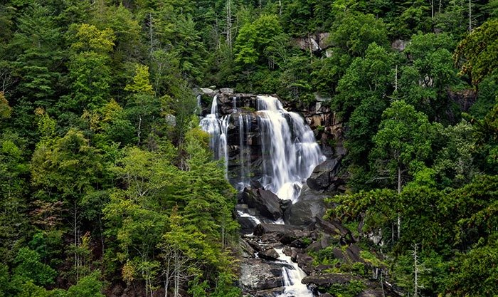 Upper Whitewaterfalls near Asheville Brevard and Cherokee NC is part of larger falls but impressive alone.