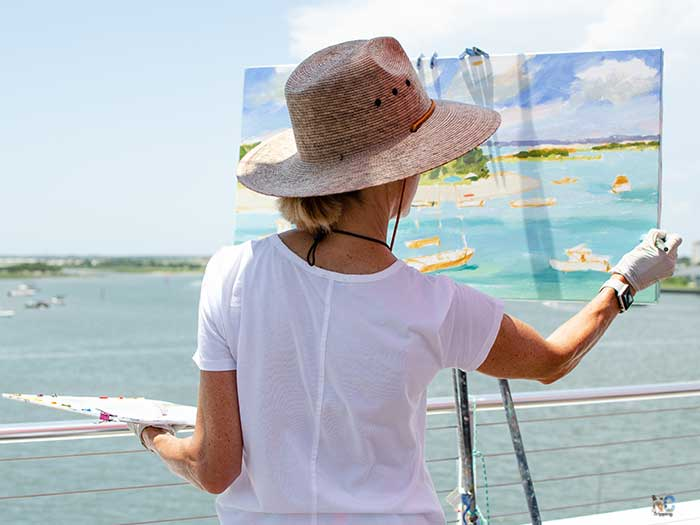 Beaufort NC Artist Painting Waterfront Image