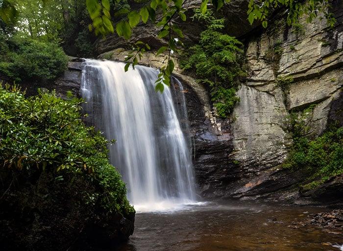 Looking Glass Falls is one of many amazing waterfalls near Graveyard Fields