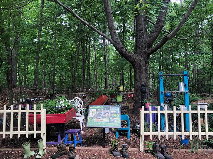 The Recycled Art Garden is our favorite at Hemlock Bluffs Nature Preserve