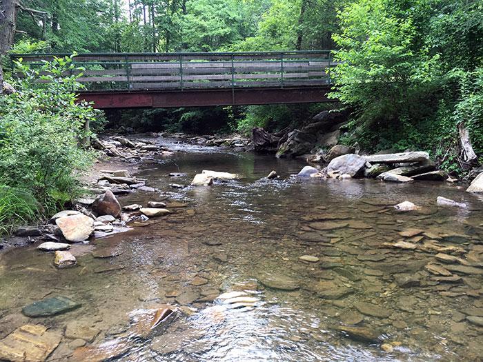 River Running Through Catawba Falls Campground NC