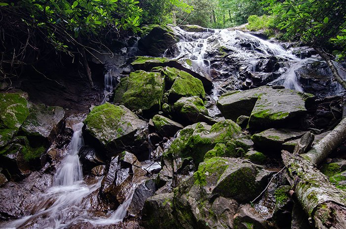 The first Glen Burney waterfall you'll hear and see is the Cascades.