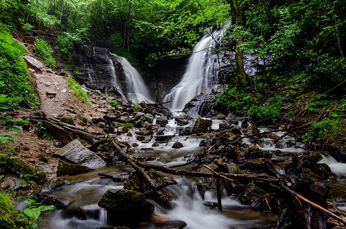 Soco Falls is not the easiest but one of the best waterfall hikes near Asheville.