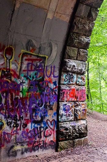 The Road to Nowhere Bryson City graffiti inside