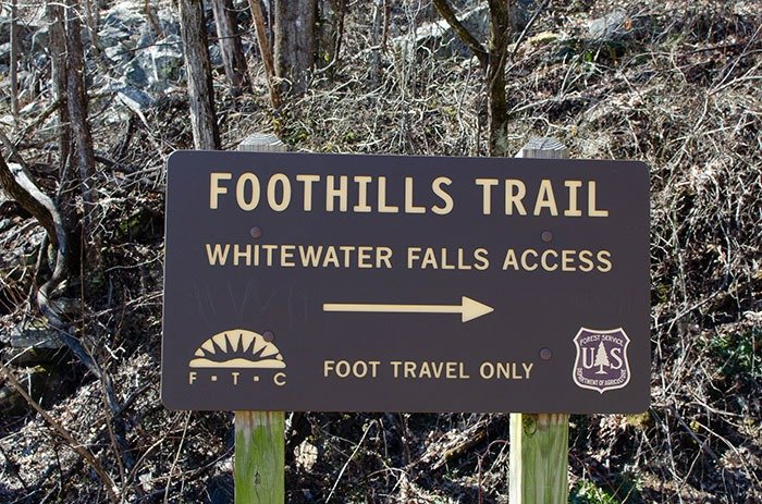 Foothills Trail sign at Whitewater Falls