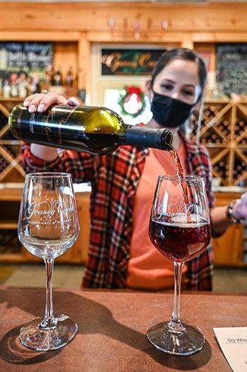 Wine tasting at Grassy Creek Vineyards