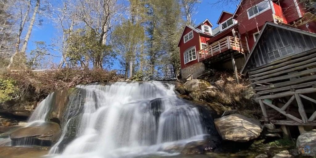 French Broad Falls and Mill Shoals Falls near Brevard NC