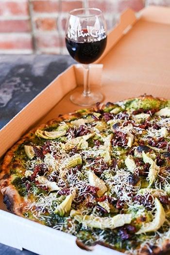 Pizza at Elkin Creek Vineyard NC Wineries