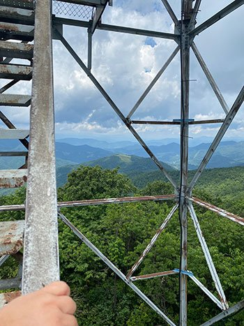 The view from the stairs at Fryingpan Mountain Lookout Tower