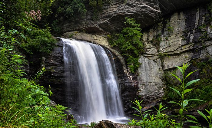 Looking Glass Falls off the Forest Heritage Scenic Byway.