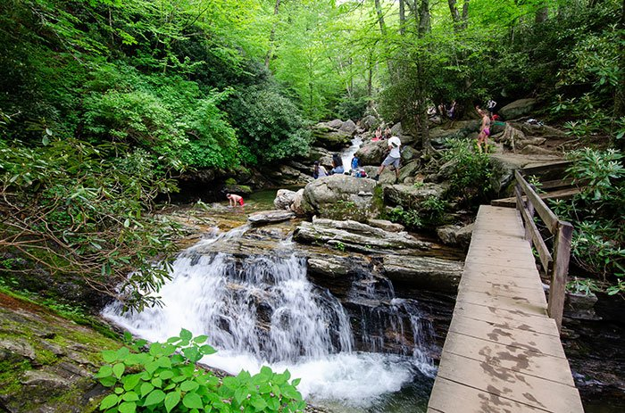 Skinny Dip Falls Blue Ridge Parkway near the Forest Heritage Scenic Byway