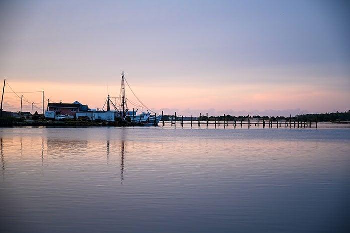 Waterfront pink skies Swansboro