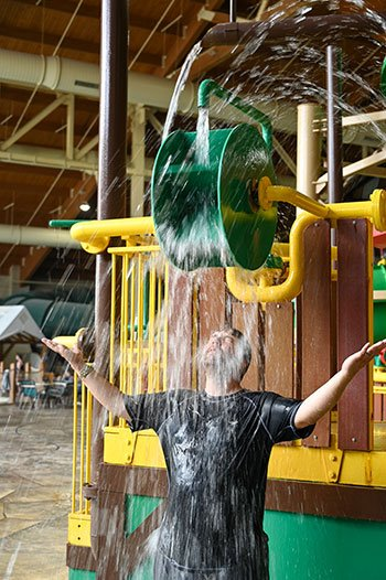 Carl wet at Great Wolf Lodge