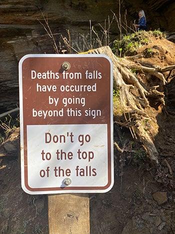 Moore Cove Falls sign