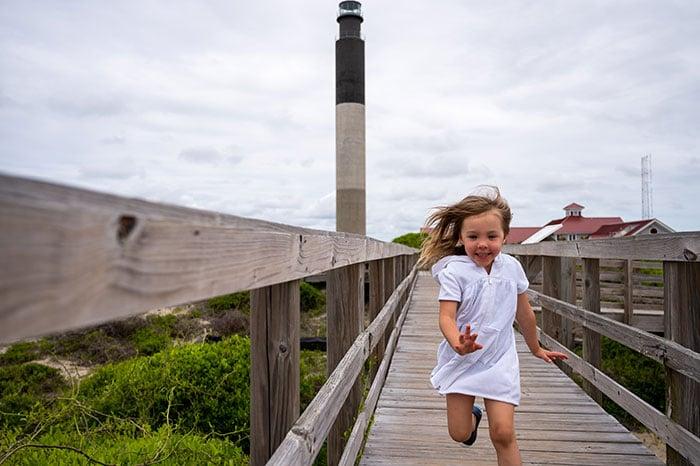 Charlotte at Oak Island Lighthouse