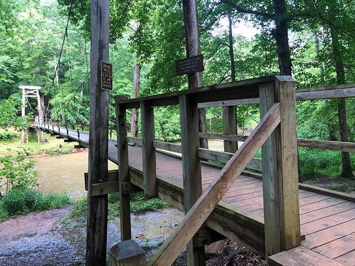 Day Trips from Raleigh NC Eno River State Park Durham Cox Mountain Trail Suspension Bridge