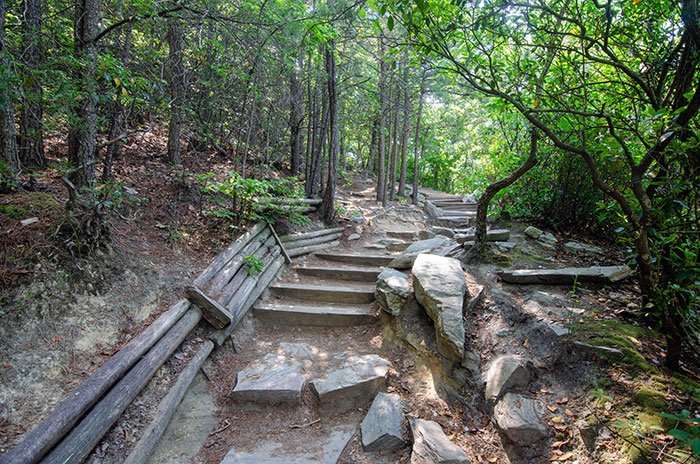 Hanging Rock Trail Wooden and Stone Steps