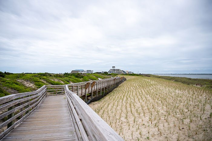 views from the boardwalk at Oak Island Lighthouse