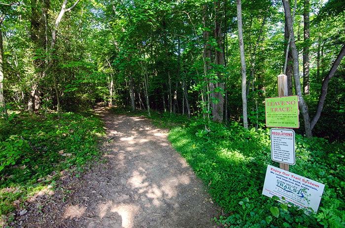 Beginning of Carter Falls Trail Elkin NC