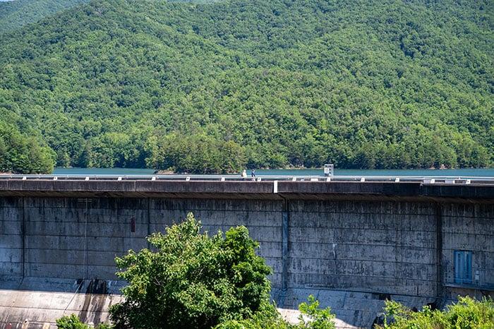 People on Fontana Dam