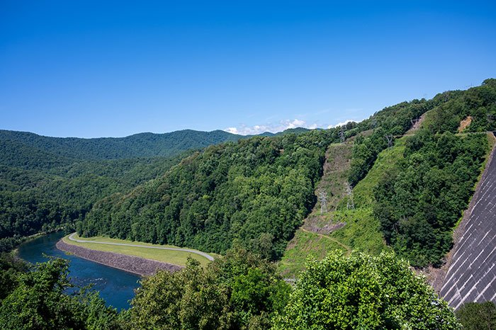 Top view of Fontana Dam
